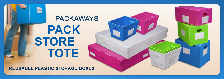 Pack Away Reusable Plastic Storage Boxes